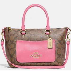 Coach NWT Hot Pink And Signature Print Satchel Bag